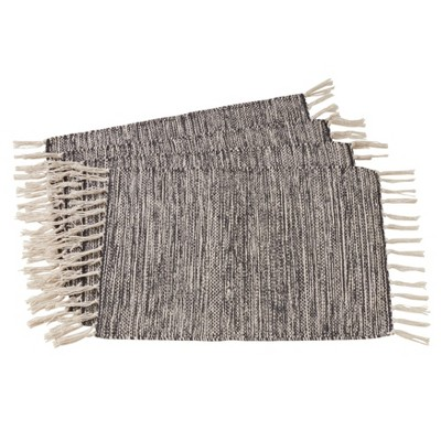 Set of 4 Cotton Table Mats With Rug Design And Tassels Black - Saro Lifestyle