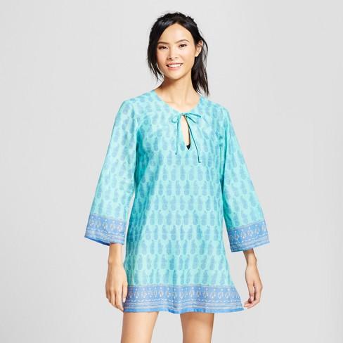 Rock Flower Paper Women S Pineapple Beach Tunic Blue S
