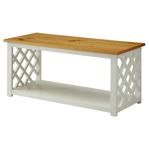 Cape Cod Coffee Table Pine/White Medium Convenience Concepts - image 1 of 4