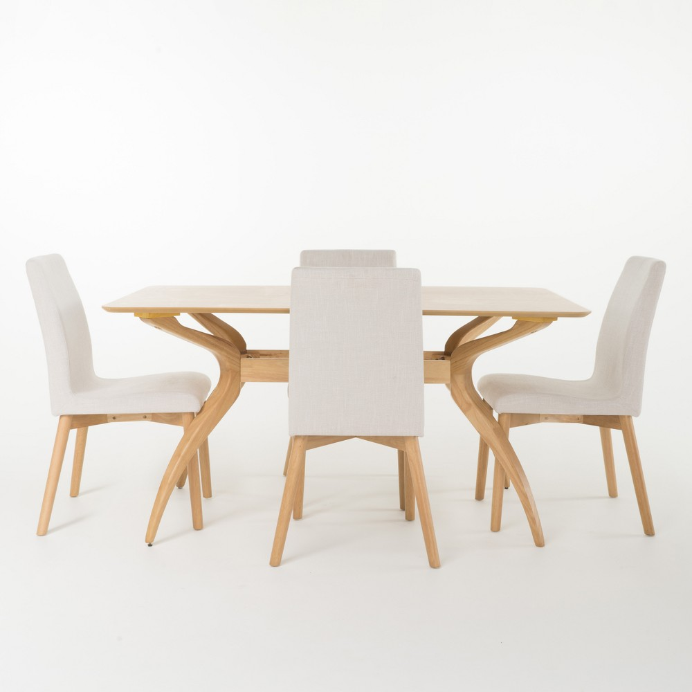 Orrin 60 5pc Curved Leg Dining Set Light Beige/Oak Brown - Christopher Knight Home