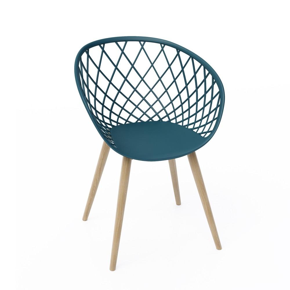 Set of 2 Kurv Chair Navy (Blue) - Jamesdar