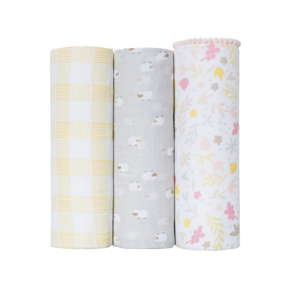 Muslin Blankets Homespun Girl 3pk - Cloud Island Platinum (White)