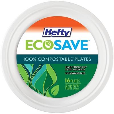 "Hefty EcoSave Molded Fiber Paper 10 1/8"" Plates - 16ct"