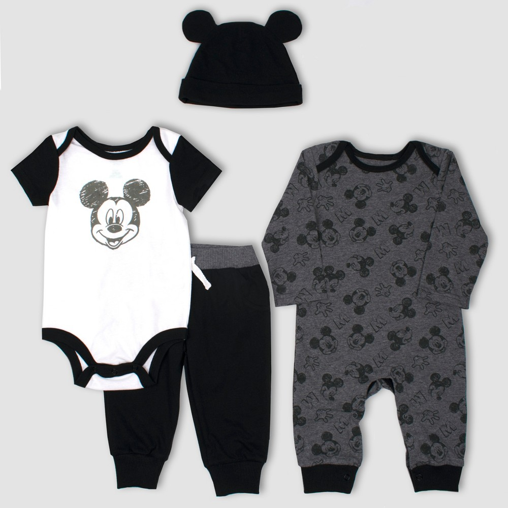 Image of Baby Boys' Disney Mickey Mouse & Friends Mickey Mouse 4pc Set - Gray/Black Newborn, Boy's, Black/Gray