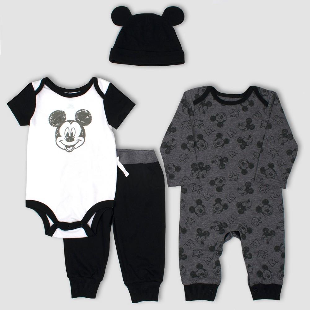 Image of Baby Boys' Disney Mickey Mouse & Friends Mickey Mouse 4pc Set - Gray/Black 12M, Boy's, Black/Gray