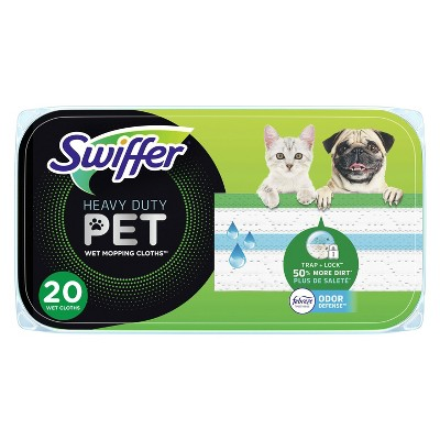 Swiffer Sweeper Pet Heavy Duty Multi-Surface Wet Cloth Refills for Floor Mopping and Cleaning Fresh scent -  20ct