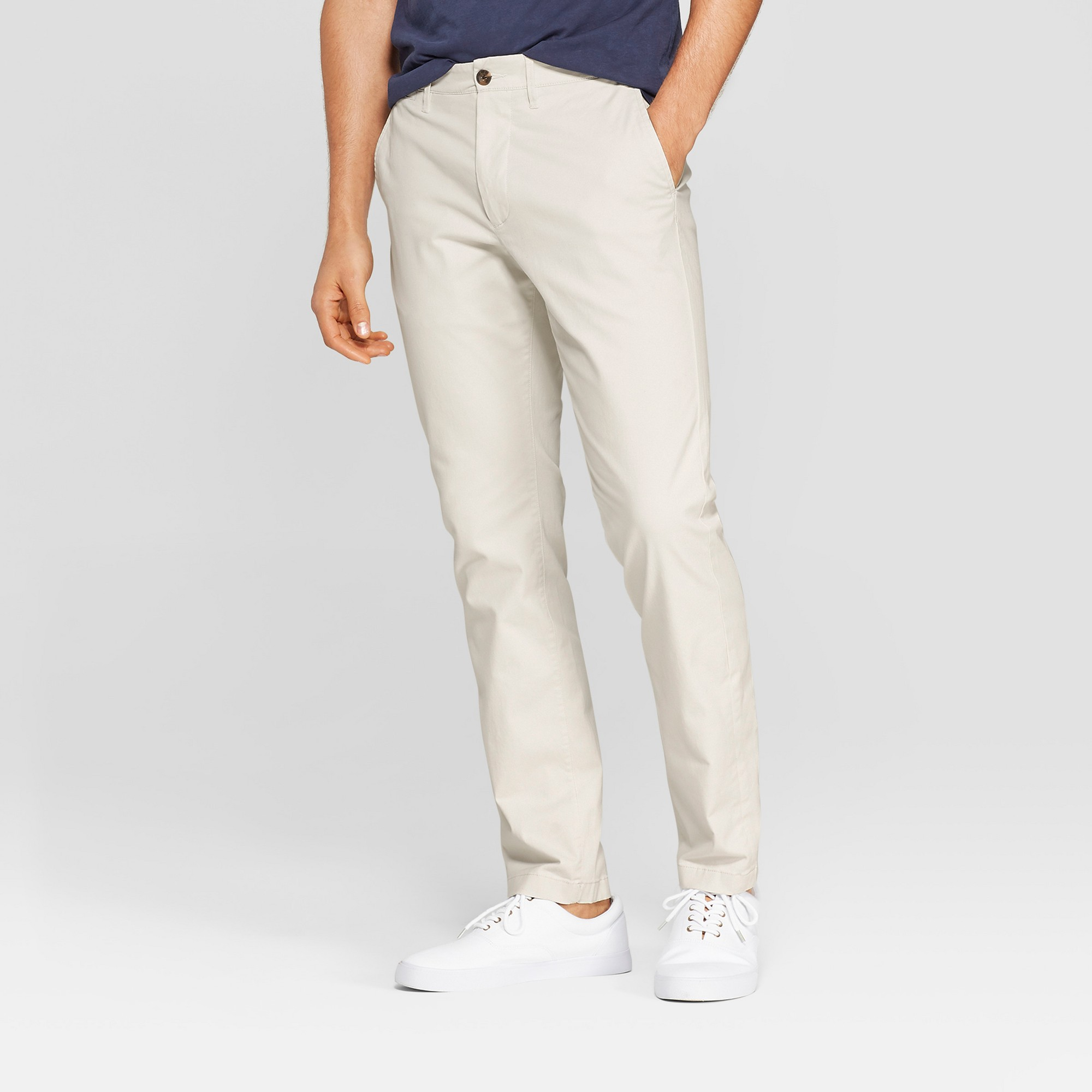 Men's 34 Regular Straight Fit Chino Pants - Goodfellow & Co Cream 33x30, White
