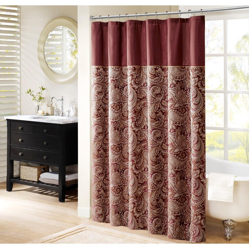 Paisley Jacquard Polyester Shower Curtain Burgundy