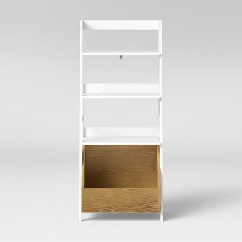 Bly Kids Bookshelf With Toy Storage Bin White Pillowfort