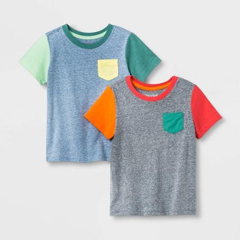 Toddler Boys 2pk Colorblock Pocket T Shirt Cat Jack Blue Gray Target
