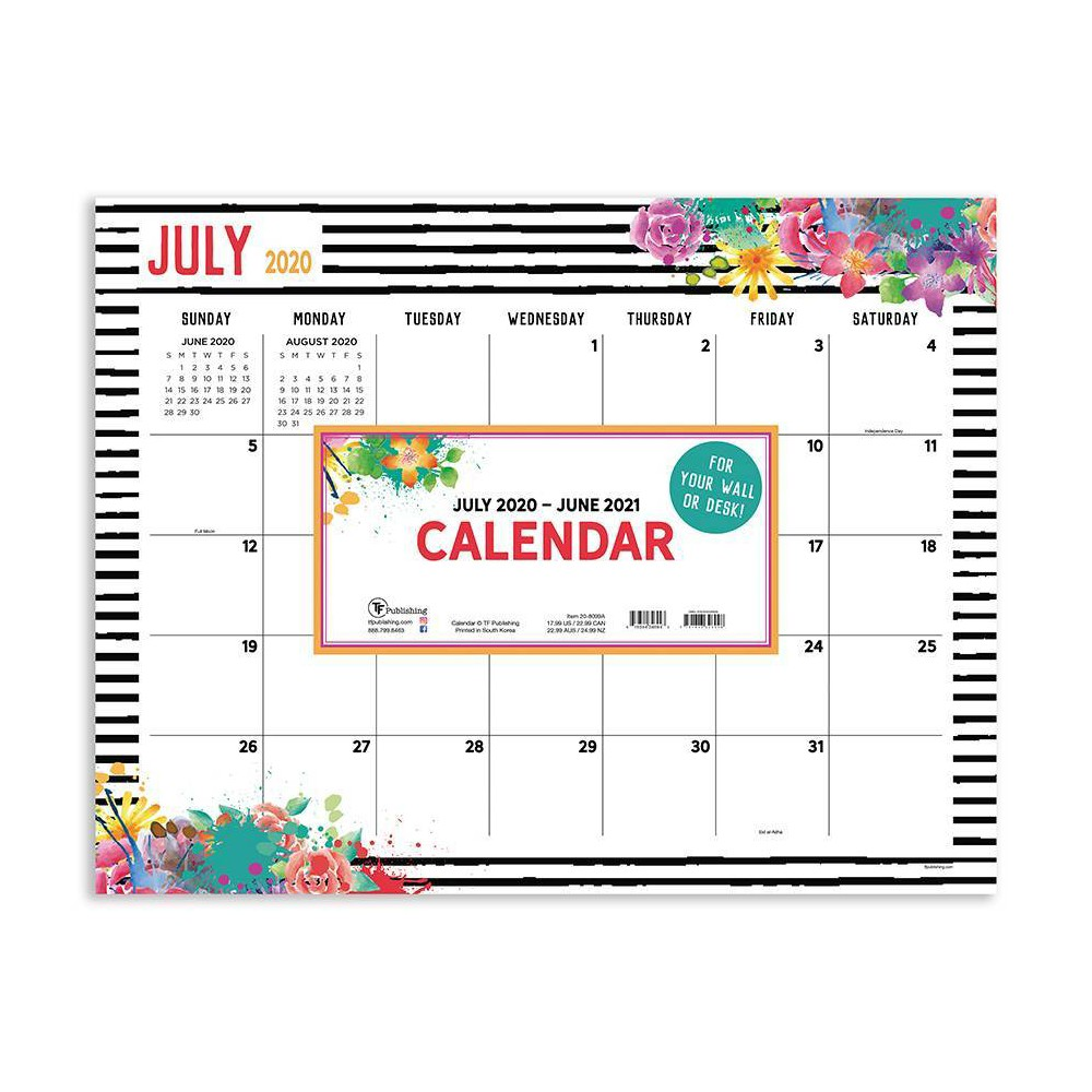 "Image of ""2020-21 Academic Desktop Calendar Floral Large 17"""" x 22"""" - TF Publishing"""