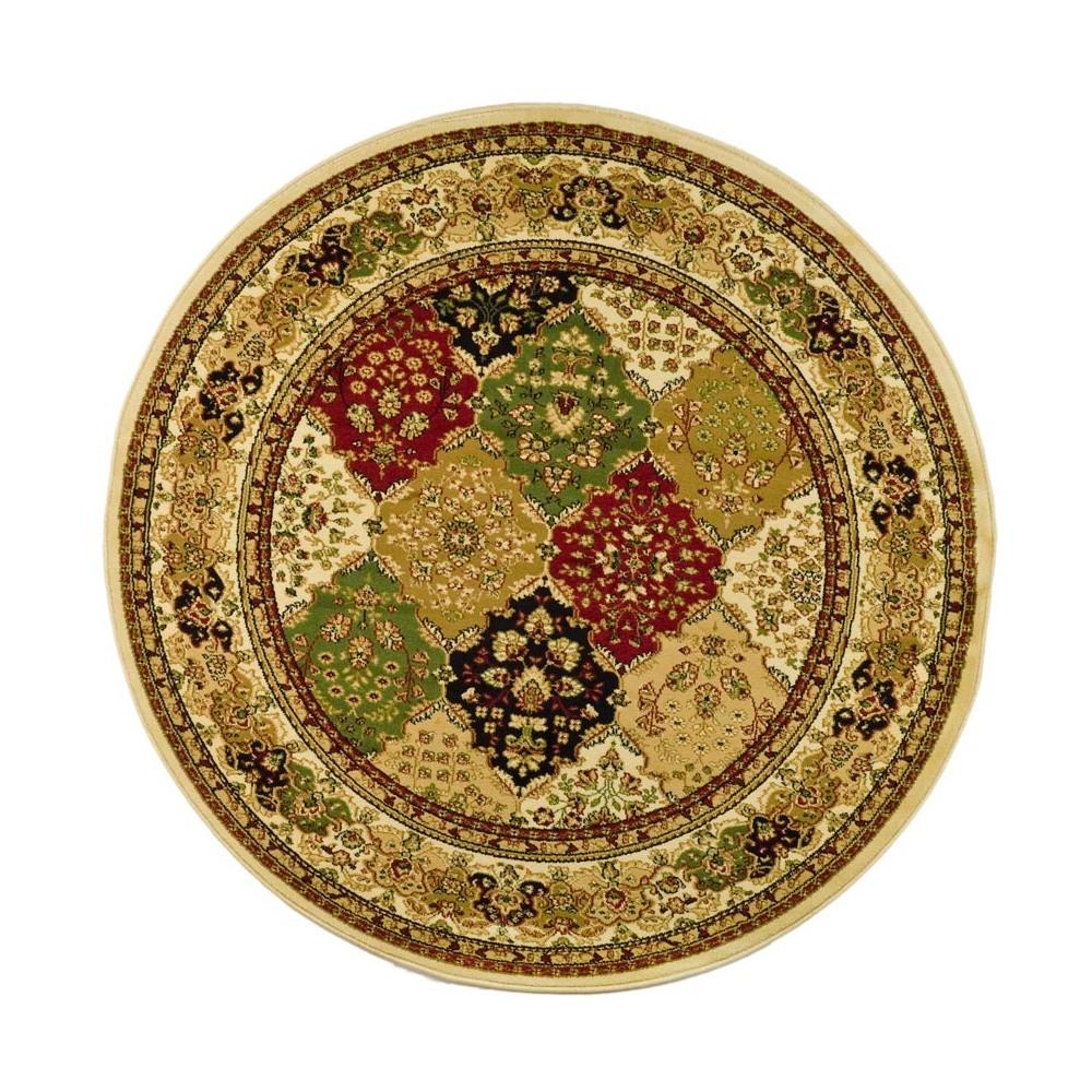 8' Loomed Floral Round Area Rug Ivory - Safavieh, Multicolored
