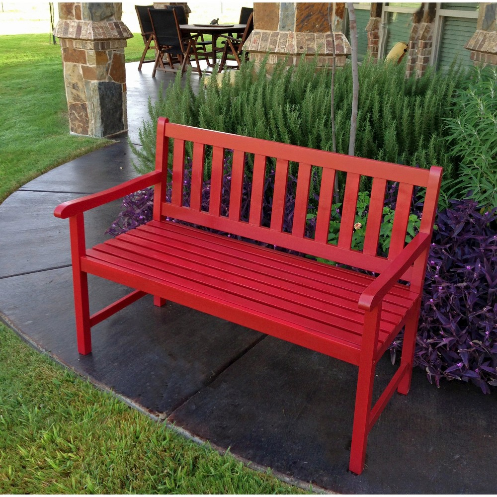 Image of International Caravan Highland 4' Wood Patio Bench - Distressed Red