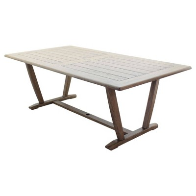 "Avalon FSC Teak 84"" Rectangle Dining Table - Gray - Courtyard Casual"