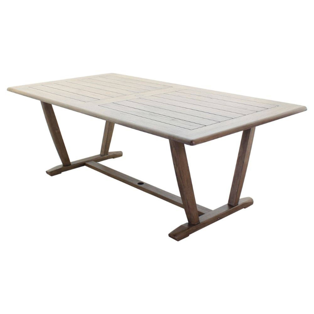 Avalon Fsc Teak 84 34 Rectangle Dining Table Gray Courtyard Casual