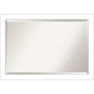 "40"" x 28"" Wedge Framed Bathroom Vanity Wall Mirror White - Amanti Art"