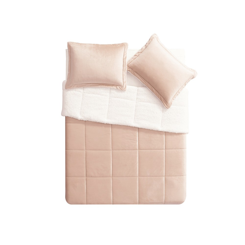 Twin Micro Mink Comforter Set Blush - Vcny Home