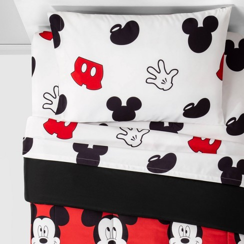 Mickey Mouse Cute Faces Bedding Set Red - image 1 of 3