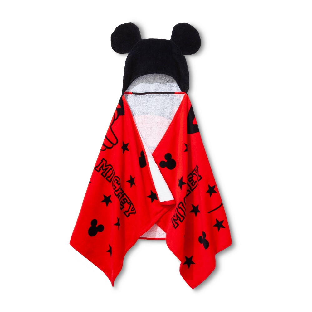 Image of Mickey Mouse & Friends Mickey/Minnie Mouse Hooded Bath Towel, Red Black