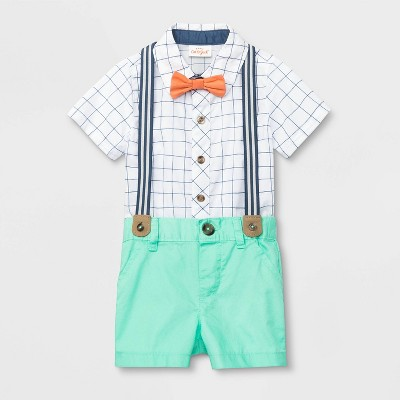 Baby Boys' Plaid Suspender Shorts Set - Cat & Jack™ White/Mint 0-3M