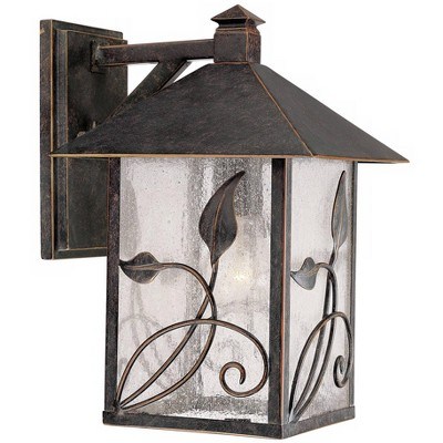 """Franklin Iron Works Country Cottage Wall Light Fixture French Bronze Leaf and Vine Motif 12 1/2"""" Clear Seedy Glass for House Porch"""