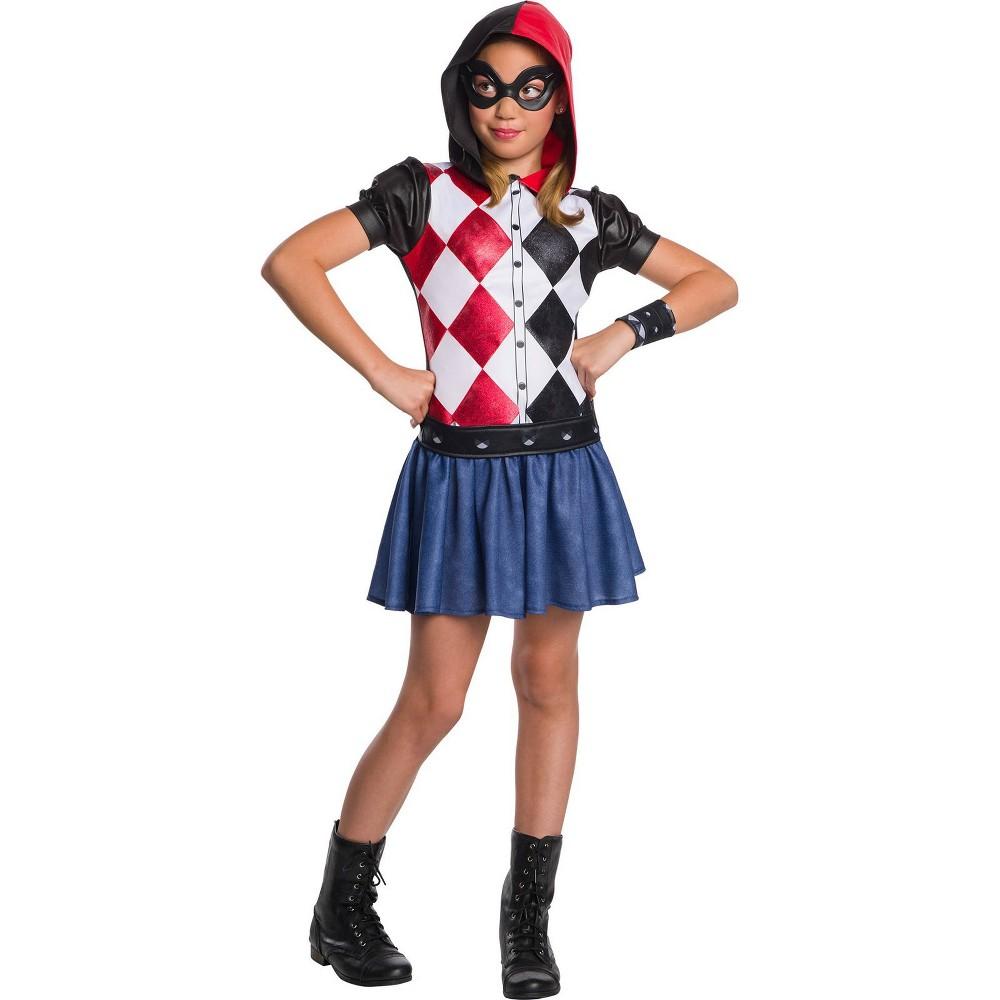 DC Super Hero Girls' Harley Quinn Hoodie Dress Halloween Costume S - Rubie's, Multicolored