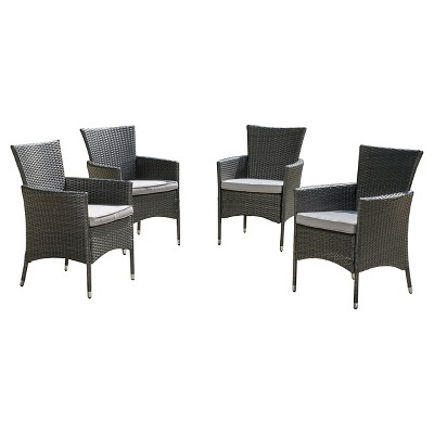 Malta Set of 4 Wicker Patio Dining Chair with Cushions - Gray - Christopher Knight Home