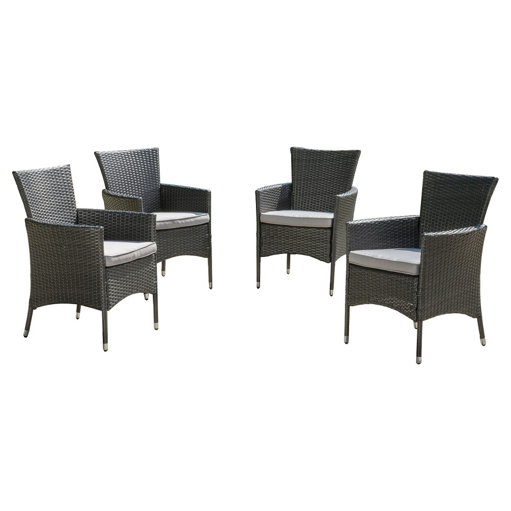 Malta Set of 4 Wicker Patio Dining Chair with Cushions - Gray - Christopher Knight Home, Grey