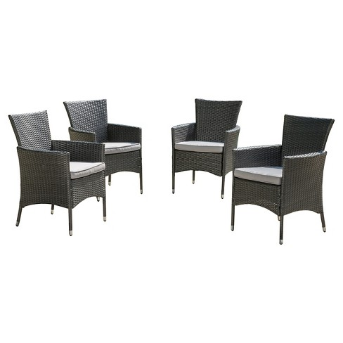 Malta Set of 4 Wicker Patio Dining Chair with Cushions - Gray - Christopher Knight Home - image 1 of 4