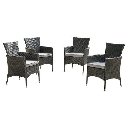 Malta Set Of 4 Wicker Patio Dining, Gray Wicker Patio Furniture