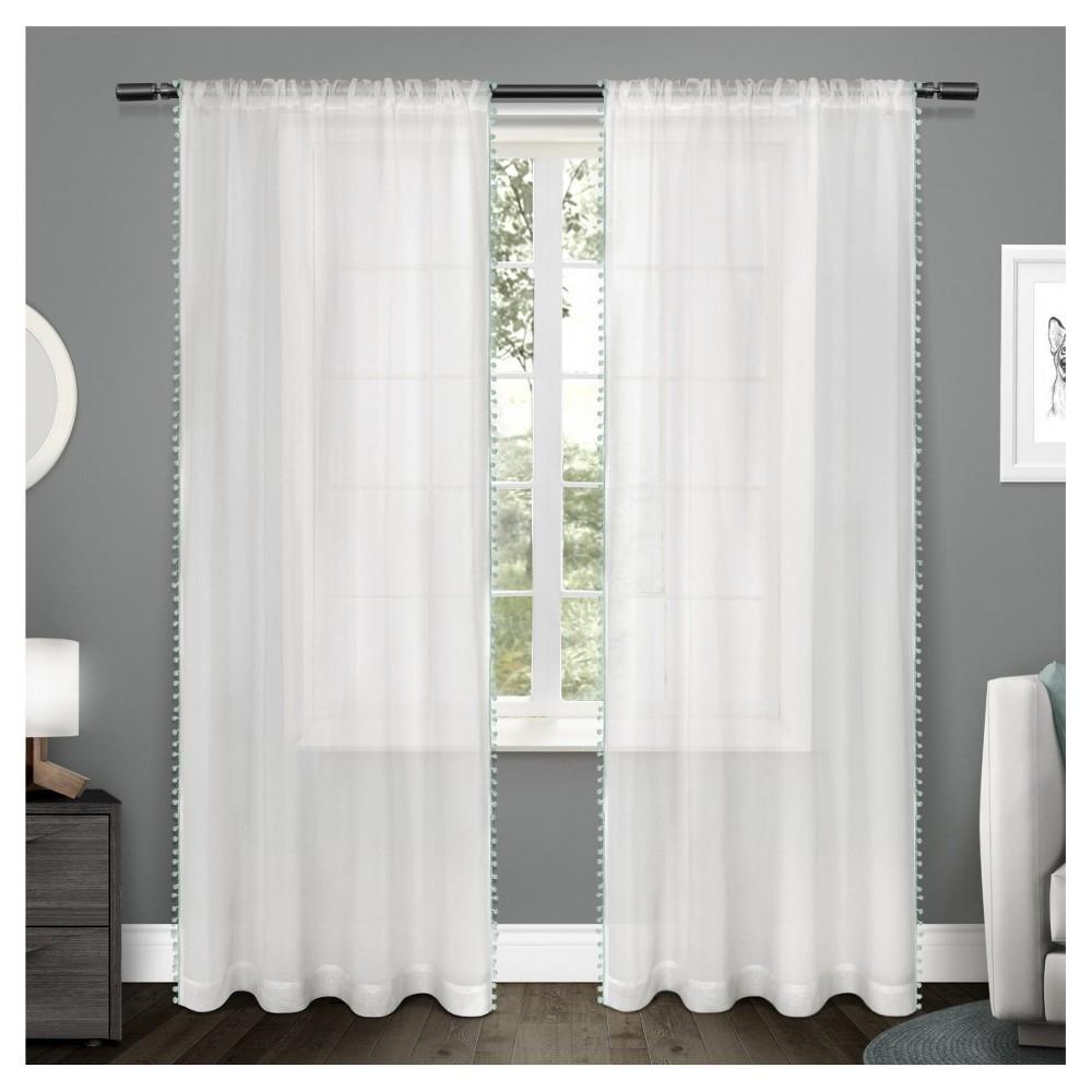 Sheer Pom Pom Curtain Panels Pair Teal (Blue) (54