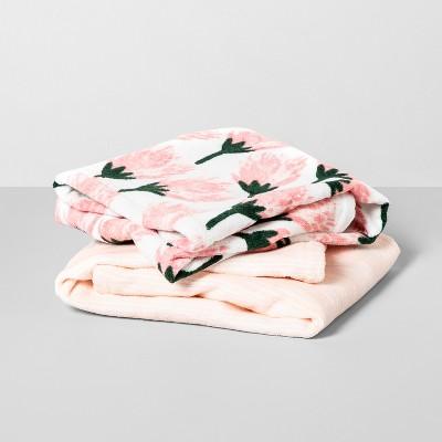 2pk Floral/Stripe Washcloth Towel Set Blush - Opalhouse™