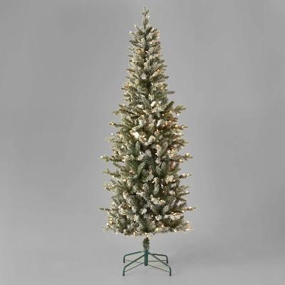 7ft Pre-Lit Slim Lightly Flocked and Glittered Balsam Fir Artificial Christmas Tree Clear Lights - Wondershop™