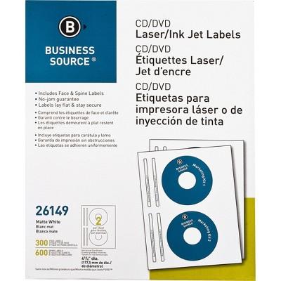 Business Source CD/DVD Labels Laser/inkjet 300/PK White 26149