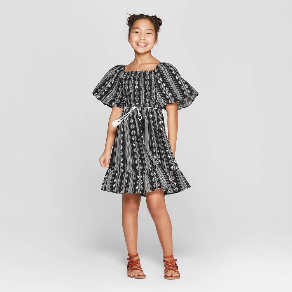 Girls' Short Sleeve Flutter Dress - art class Black XS