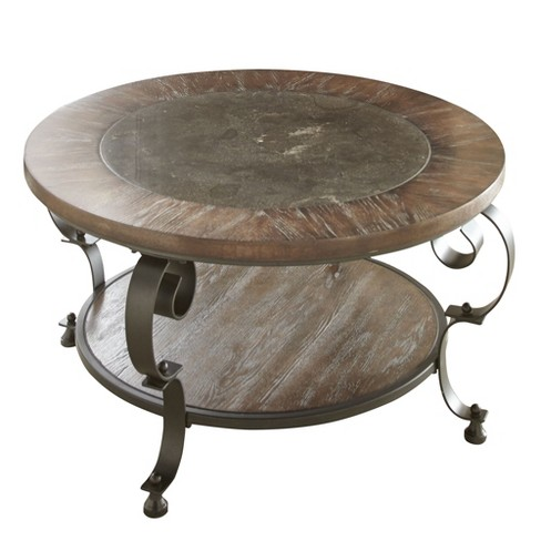 Mulberry Round Cocktail Table Distressed Wood And Metal Steve Silver Target