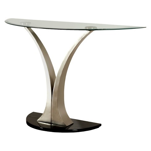 ioHomes Valeri Modern Flared Glass Top Sofa Table Satin Plated - image 1 of 3