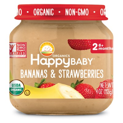 HappyBaby Fruit And Vegetable Snacks Banana & Strawberries Baby Food - 4oz