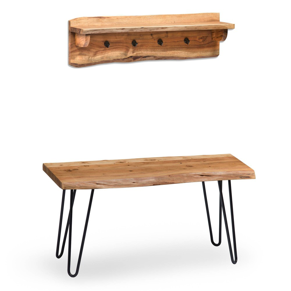 """Image of """"36"""""""" Hairpin Live Edge Wood Storage Bench with Coat Hook Shelf Set Natural - Alaterre Furniture"""""""