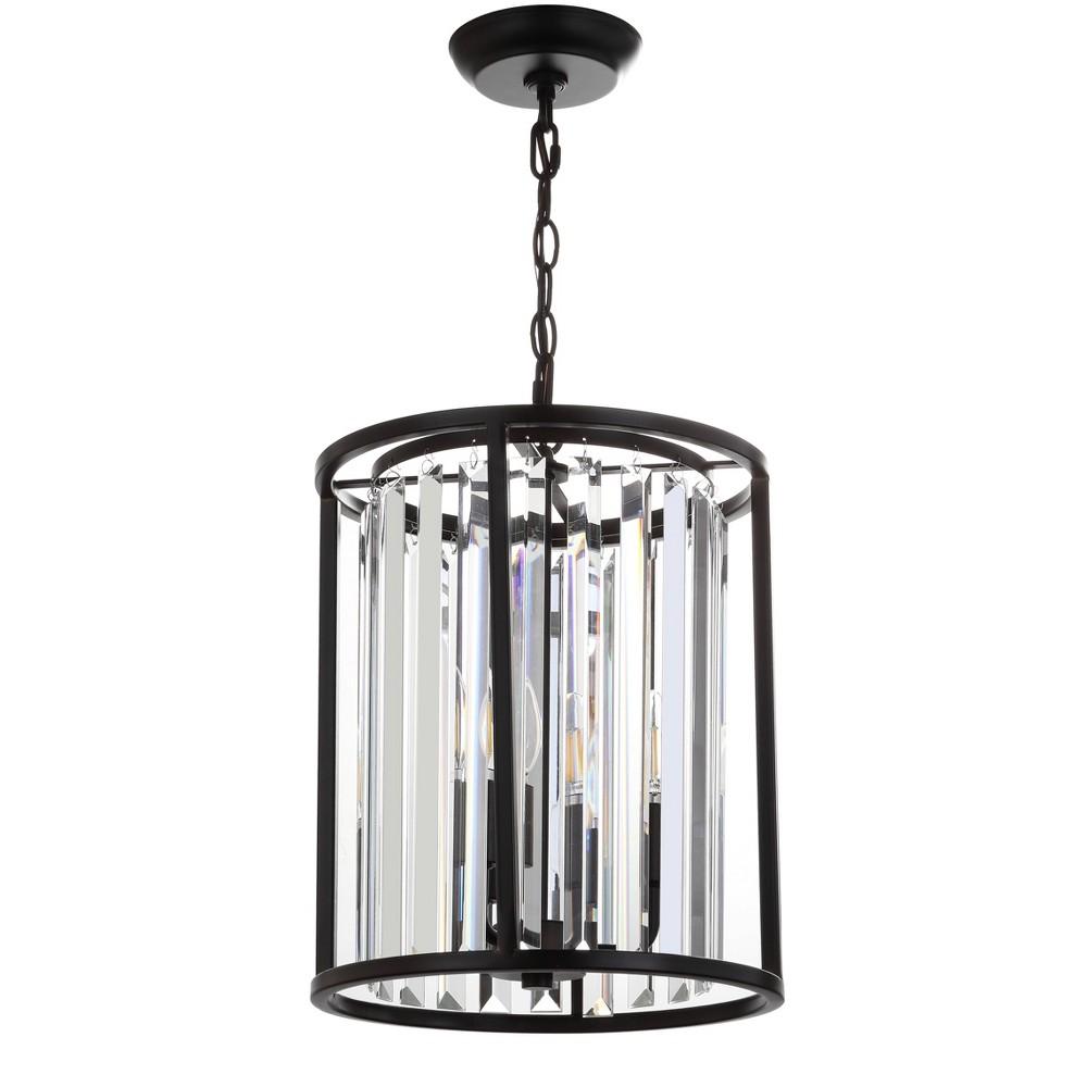 "Image of ""12"""" Bevin Metal/Crystal LED Pendant Black (Includes Energy Efficient Light Bulb) - JONATHAN Y"""