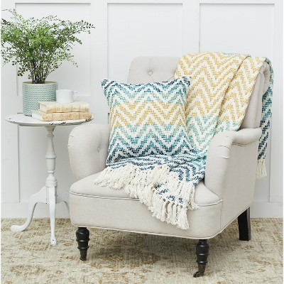 C&F Home Chevron Blue and Yellow Throw