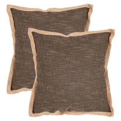"Brown Madeline Throw Pillow Set Of 2 (18""x18"")- Safavieh"