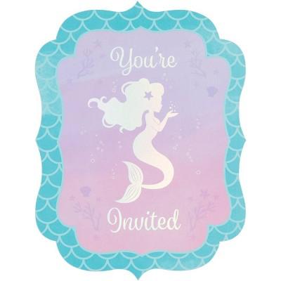 8ct Mermaid Print Party Invitation