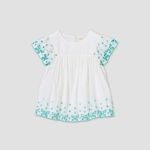 Girls' Short Sleeve Embroidered Striped Woven Blouse - Cat & Jack™ White  - image 1 of 2