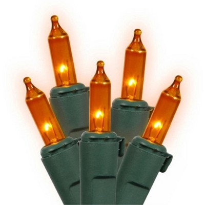 Northlight 150ct Mini Net Lights Orange - 4' x 6' Green Wire