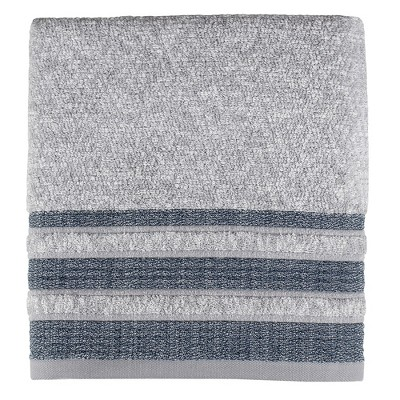 "SKL Home Cubes Modern Look Woven Textured Stripes Bath Towel - 27 x 50"", Navy"