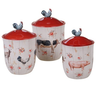 3pc Earthenware Farmhouse Canister Set White - Certified International