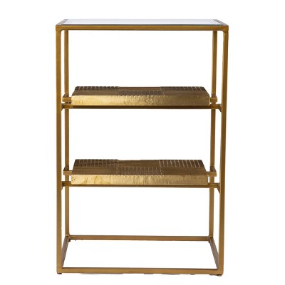 Woobal Glass Top End Table with Storage Brass - Aiden Lane