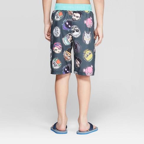 0379c9c22d Boys' Fortnite Heads Swim Trunks - Black/Turquoise : Target