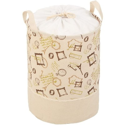 Juvale Drawstring Laundry Hamper with Handles, French Themed (16 x 13 Inches)
